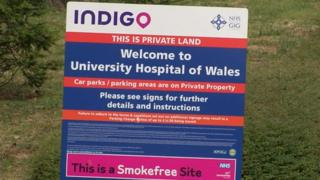 University Hospital of Wales car park sign