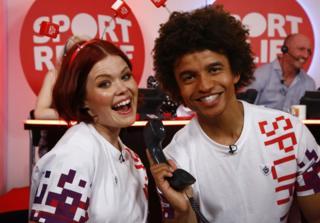 Lindsey Russell and Radzi Chinyanganya on Sport Relief in 2018
