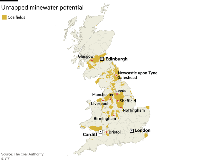 Coalfields map in Britain