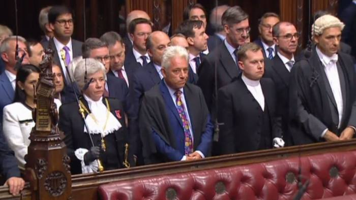 "A video grab from footage broadcast by the UK Parliament's Parliamentary Recording Unit (PRU) shows Lady Usher of the Black Rod Sarah Clarke (front L) standing with Speaker of the House of Commons John Bercow (front 2L) and other members of parliament in the House of Lords in London on September 10, 2019, during the ceremony to prorogue (suspend) parliament. - The UK Parliament was prorogued, or suspended, until October 14, 2019. (Photo by HO / PRU / AFP) / RESTRICTED TO EDITORIAL USE - MANDATORY CREDIT "" AFP PHOTO / PRU "" - NO USE FOR ENTERTAINMENT, SATIRICAL, MARKETING OR ADVERTISING CAMPAIGNS - EDITORS NOTE THE IMAGE HAS BEEN DIGITALLY ALTERED AT SOURCE TO OBSCURE VISIBLE DOCUMENTSHO/AFP/Getty Images"