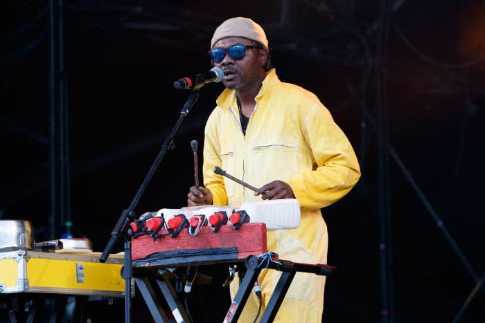 Love Lokombe of Kokoko! performs on stage during End Of The Road Festival 2019