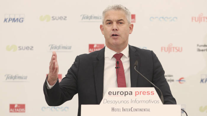 Brexit secretary Stephen Barclay at a news briefing in Madrid on Thursday