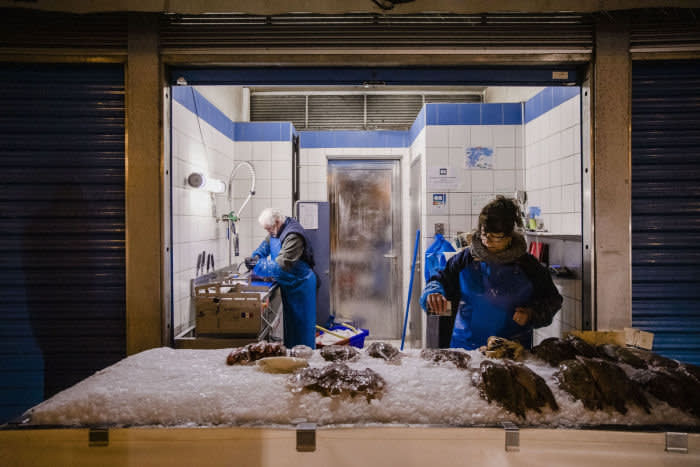 Fish harbour in Boulogne sur Mer, in France, on february 1st, 2019. Market stalls at the harbour.Photographer: Marlene Awaad / Bloomberg